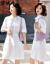 諾誠卉ワンピース2020夏服NEW女史純色シーザーピースの中の長い韓国版夏の女装ファッション気質は腰を収めて痩せて見える半袖ワンピース夏のスカートは白いMです。