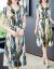 ブルー荏シルクワンピース子女装夏の桑蚕糸ワンピースロンスカトートファッションの半袖ビッグサイズの中年のお母さんがお腹を隠して痩せて見えるワンピースです。ゆったりとした小柄な女性のスカートは青いXLです。