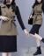 オーストリア風の蝶の風衣のベストのワンピースの2つのセットのスカートの女性2020秋冬NEW婦人服の長袖のファッションは腰の結び目の中で長い項の尼のテートの底を打つスカートのスーツの洋風のスカートのカーキのベスト(単独で1件のベスト)L