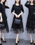杜尚希思2020 NEW秋季ショウレットコットンファッション気質女史の小柄な長袖の蝶々ボタンは網紗の刺繍のワンピースタイトロットサイズの黒4 XLを飾って、150-155斤を提案します。