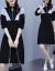星の光のワンピース2020秋冬NEW女装韓国版タトファッションビッグサイズスーツ太っていますMMウエストが見える細いレースの下の長袖の中に長いスタイルのニネットスカート黒L