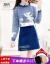 芝格鳥ニトワンピース2点セットスーツスカート小柄な女装ファッションアルファベットスイート減齢2020秋冬のセレブな小香毛です。尻カバーのショートラックブルーは正確なサイズをお願いします。