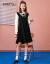 Sanfu/三福ワンピース女性2020冬復古学院風蝶結び偽のハスの葉のスカート2枚のワンピース黒M
