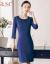 艾尚臣職業ワンピース春秋NEW女性の中には、長めの知的OLタワーストライプが見えるスリムな職業服のスカートが紺のストライプのワンピースS。